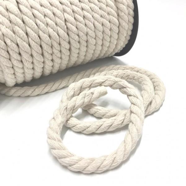 Naturfarbene/ weiße Kordel, 8mm Durchmesser